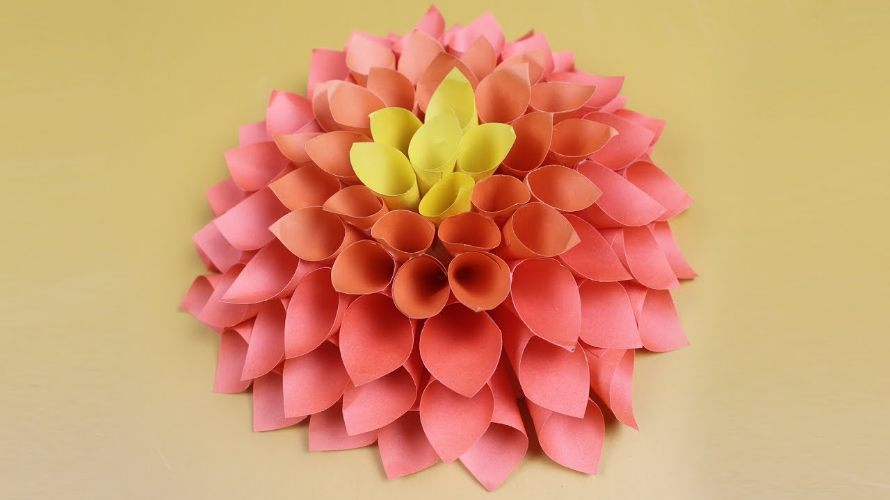 How to make origami hanging flowers origami tutorial lets make it amazing dahlia flower for room decor easy diy paper wall hanging mightylinksfo