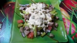 Острый салат со свиным языком