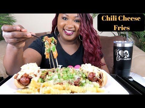 CHEESY CHILI CHEESE FRIES MUKBANG