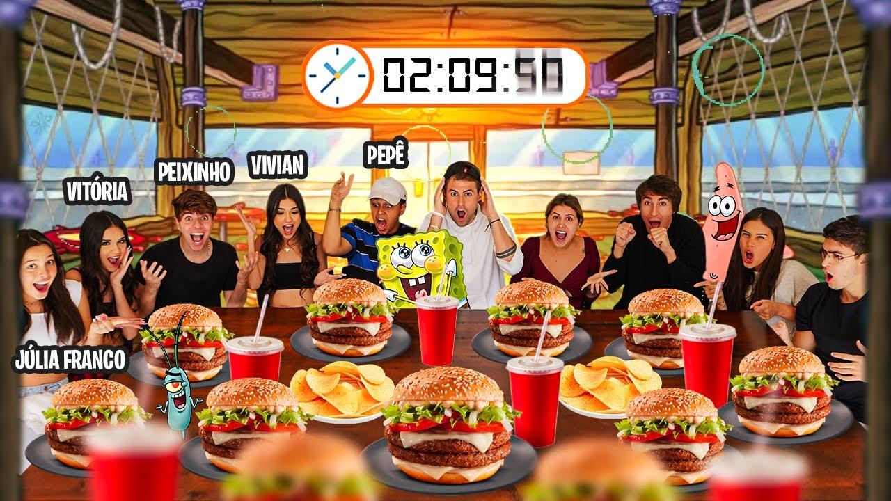 ULTIMO A PARAR DE COMER COMIDA DO BOB ESPONJA GANHA 5000R$!! (YOUTUBERS VS TIKTOKERS) [REZENDE EVIL]