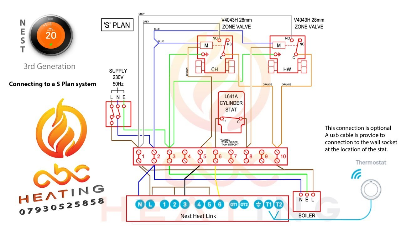 Wiring Diagram Nest Thermostat Uk : Nest rd gen install on a s plan system uk youtube