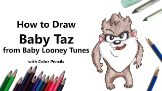 How to Draw Baby Taz from Baby Looney Tunes with Color Pencils [Time Lapse]
