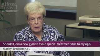 Seniors at the Gym - Laughing with Mary