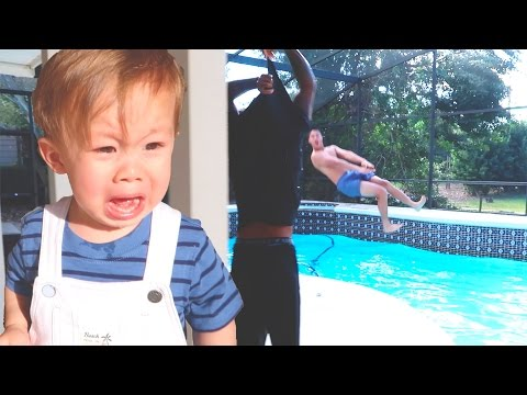 HE JUMPED INTO THE POOL!!!