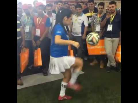 Incredible football skills from a soccer female player