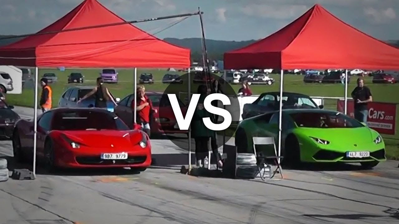 lamborghini huracan vs ferrari 458 italia drag race. Black Bedroom Furniture Sets. Home Design Ideas