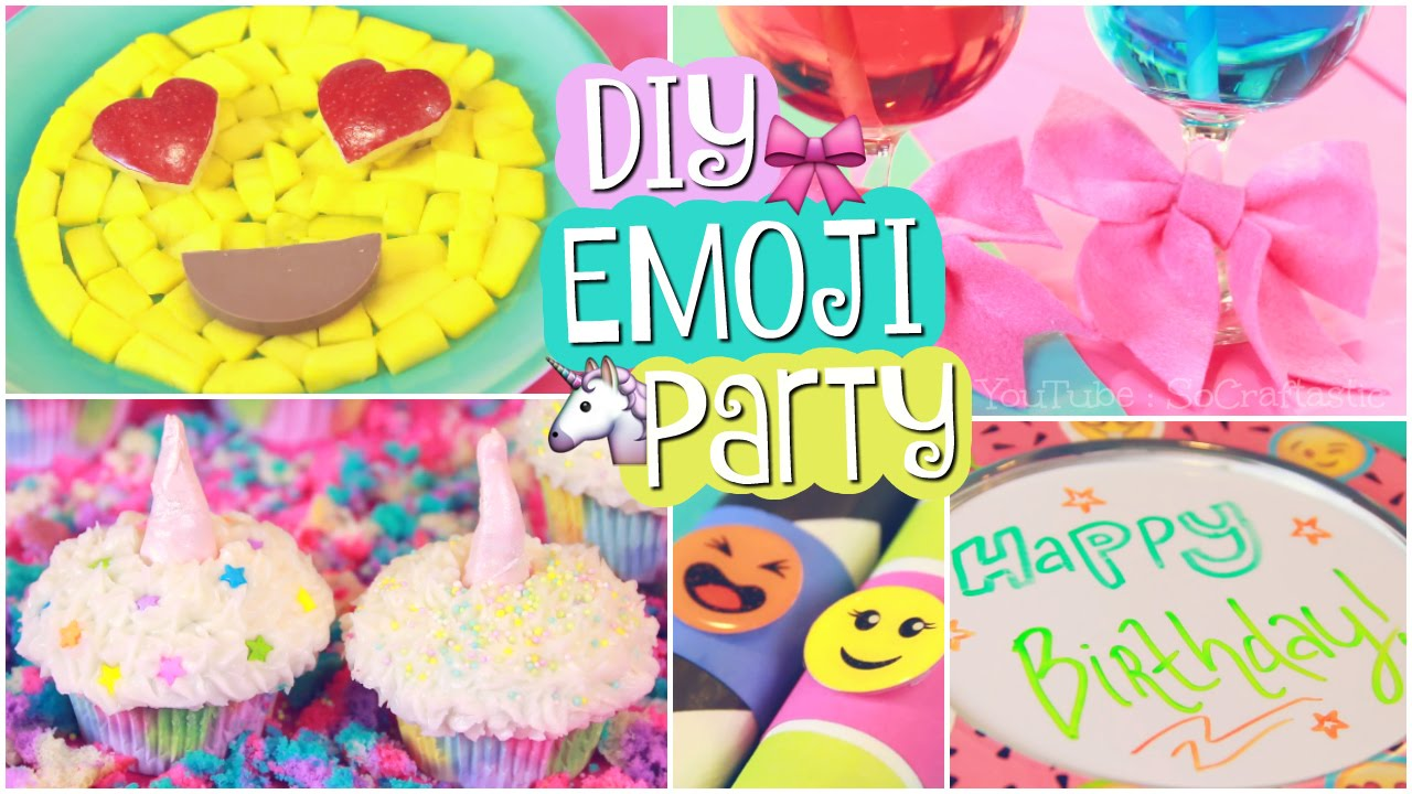 DIY EMOJI PARTY Unicorn Cupcakes Easy Decor SoCraftastic YouTube