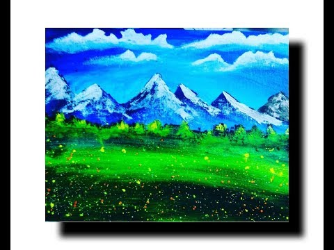 Landscape mountain painting,with acrylic colours,on canvas board,step by step,landscape drawing