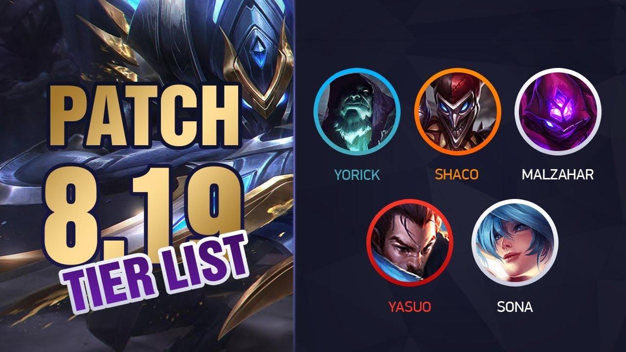 League of Legends Patch 8 19 Tier List for Climbing Solo Queue