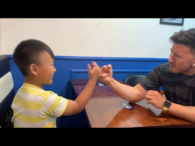 I almost COMPLETELY DESTROY my kid cousin at arm wrestling