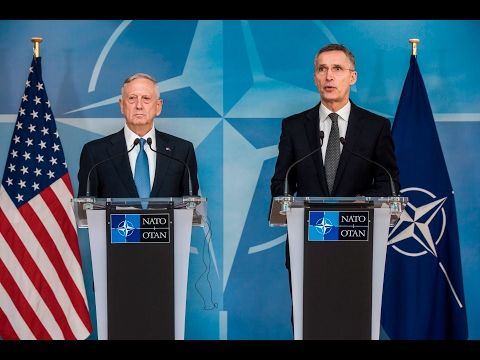 NATO Secretary General with U.S. Secretary of Defense, Defence Ministers Meeting, 15 FEB 2017