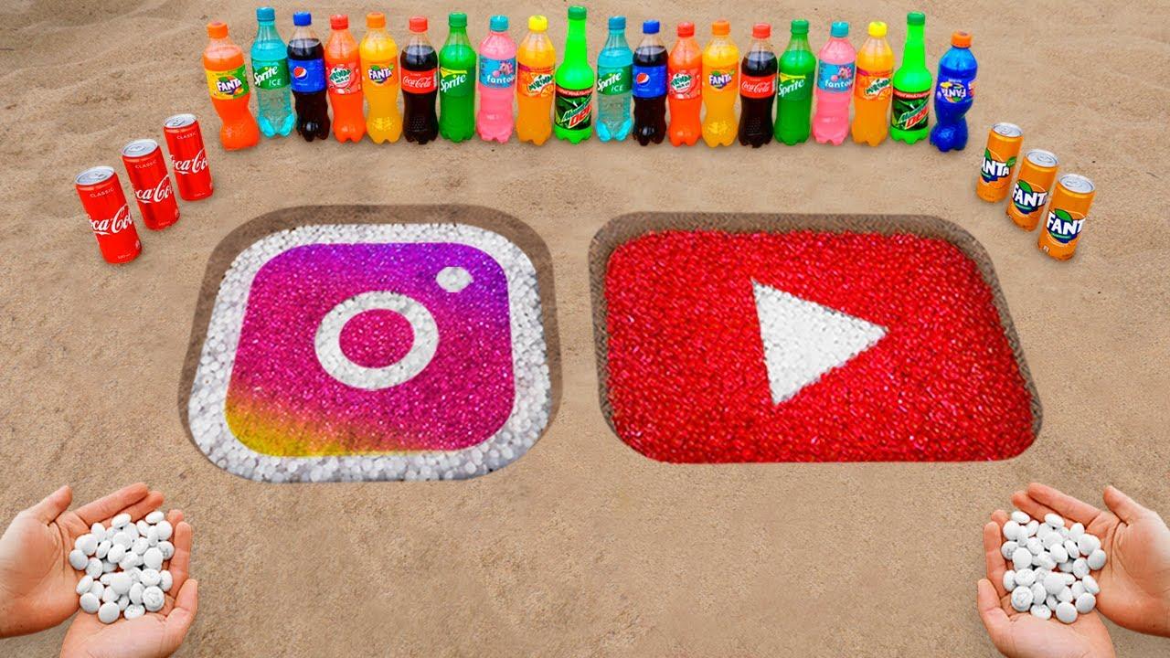 Download INSTAGRAM & YOUTUBE  Logo in the Hole with Coca Cola, Mentos & Popular Sodas