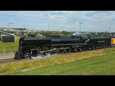 Union Pacific 844 leaving the 2017 CWS Home Plate in Omaha, NE then on to Council Bluffs, Iowa