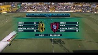 Fútbol en vivo. Olimpo- San Lorenzo. Fecha 28. Torneo de Primera División 2015. FPT.