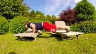 Bring Sally up, Bring Sally Down Pushup Challenge on lounge chairs  with a twist