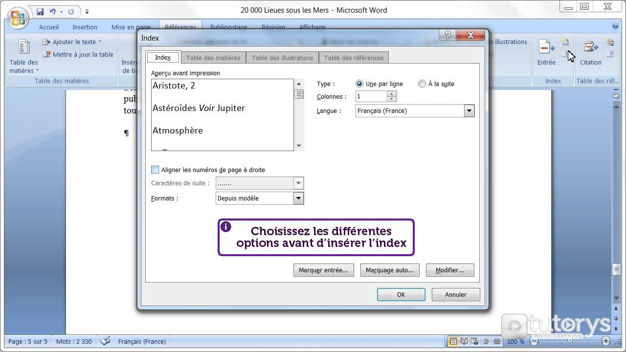 comment cr u00e9er un index avec word 2007