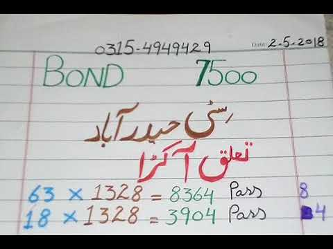 Prize bond 7500 city Hyderabad tulk akra roteen (2-5-2018)
