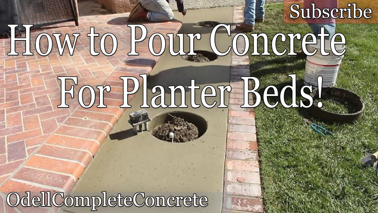 How To Pour And Make A Concrete Planter Bed Youtube