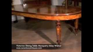 Victorian Dining Table Marquetry Inlay Walnut