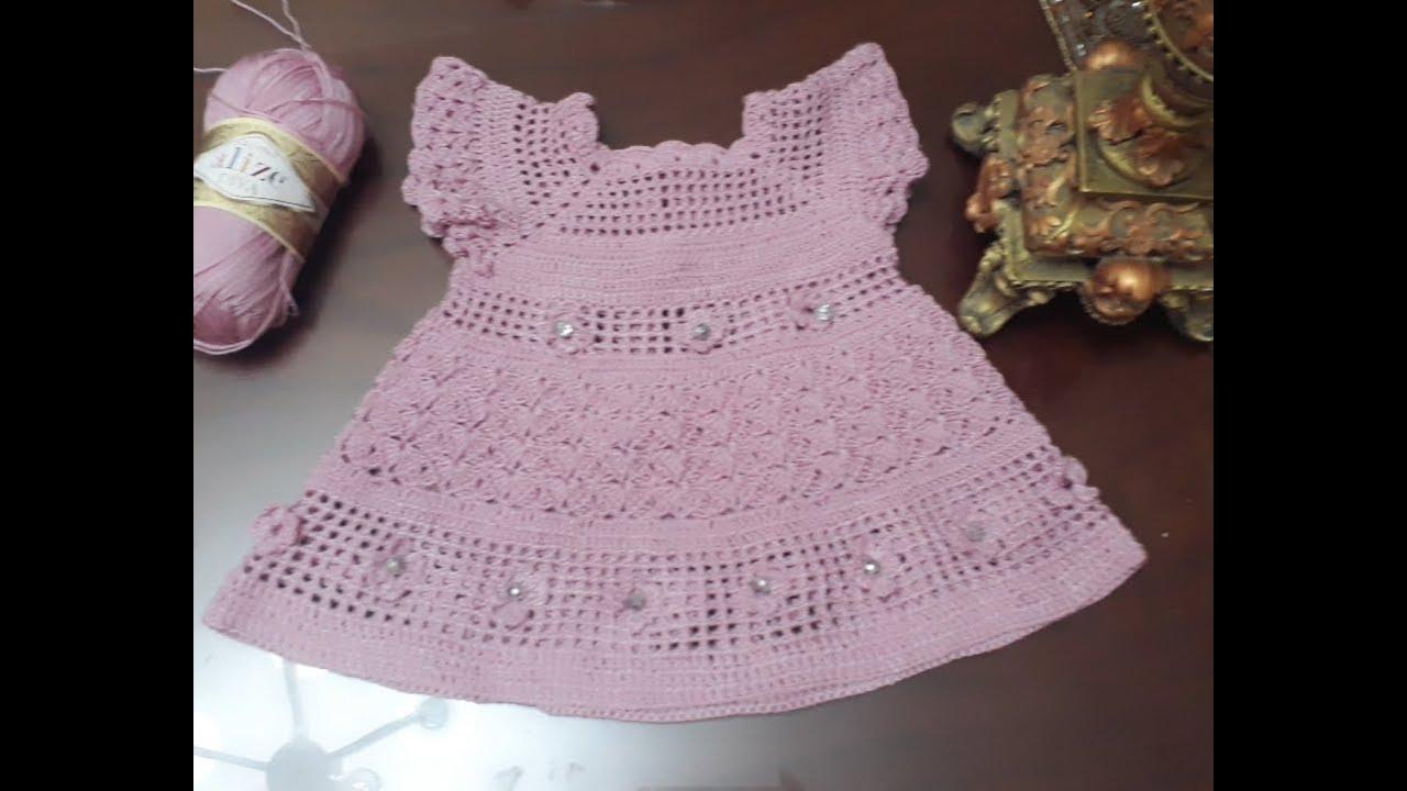 0f421ae2b كروشية .. فستان اطفال رووعة للعيد 💜💜💜 - YouTube