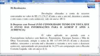 Audiência Pública 29/05/2018 - Prestação de contas 1º Quadrimestre 2018