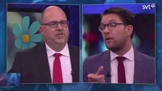 Jimmie Åkesson och Karl-Petter Thorwaldsson möts i Aktuellt