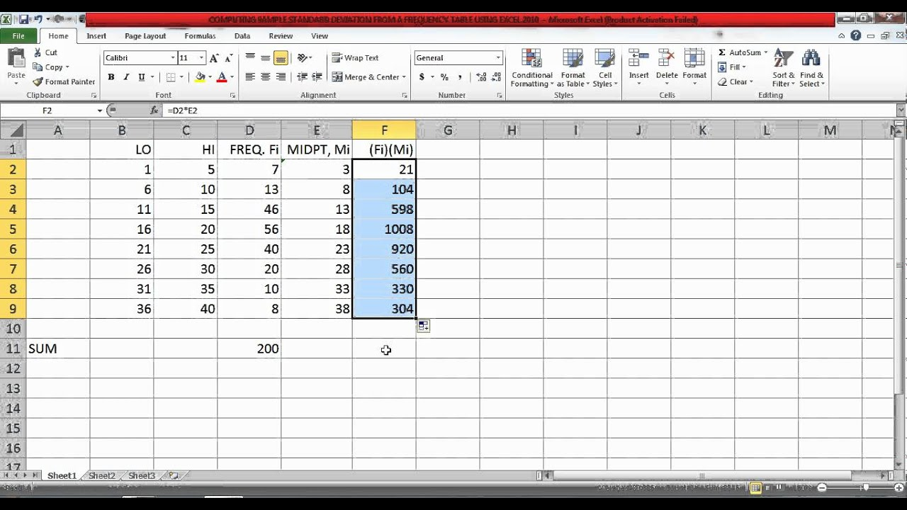 Computing Sample Standard Deviation From A Frequency Table Using Excel 2010  Part 1 Of 2v