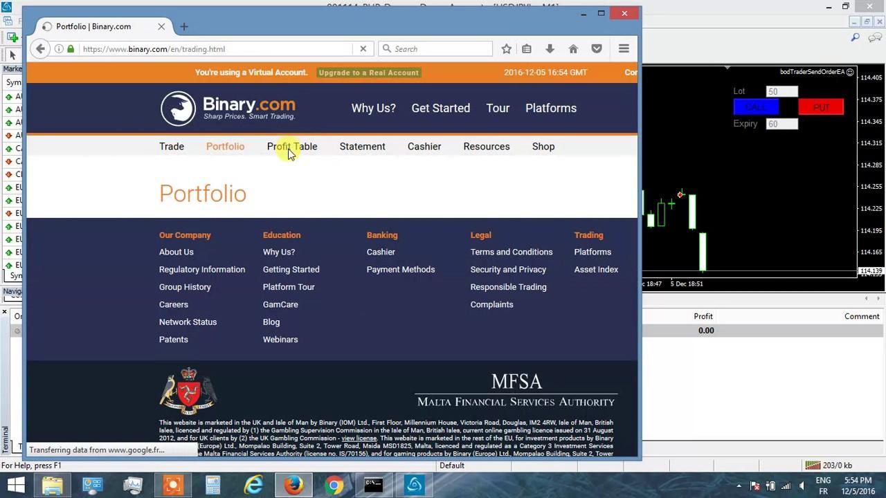 Bridge from MT4 to binary com