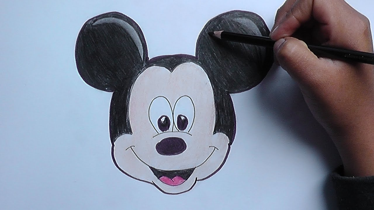 Dibujando la cara de Mickey Mouse - Drawing the face of Mickey Mouse ...
