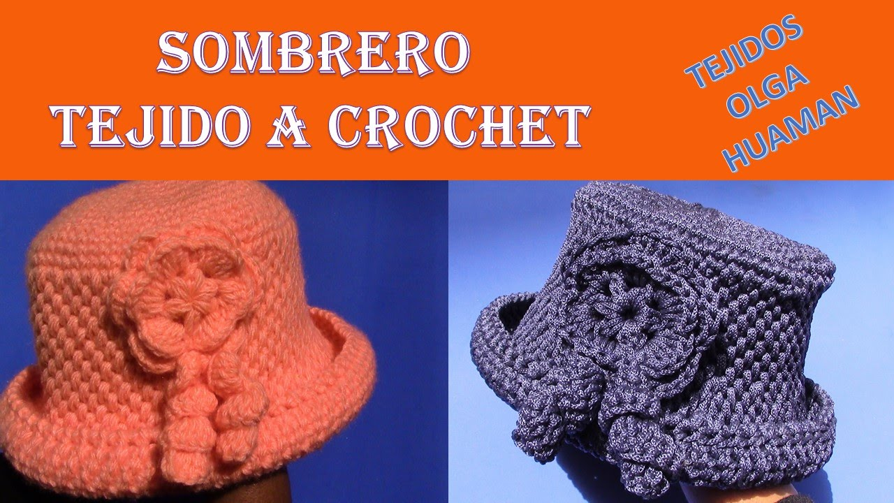 Sombrero con Flor tejido a crochet en punto cesta simple paso a paso ... 36bb6fed361