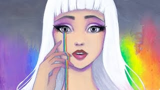 Joy, Artistic Process Self Portrait Acrylic Speed Paint by Leilani Joy