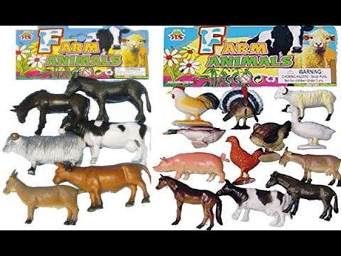 farm toy animals pig cow horse sheep dog cat chicken duck