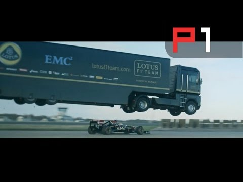 MASSIVE Lotus truck jumps over an F1 car