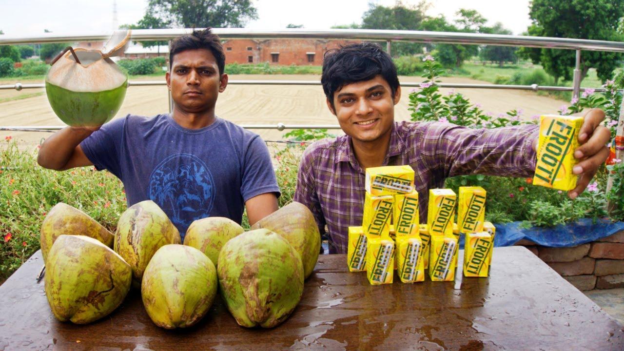Coconut water Vs Frooti Drinking Challenge   Mango Juice  Vs Coconut Water Competition   Drinking