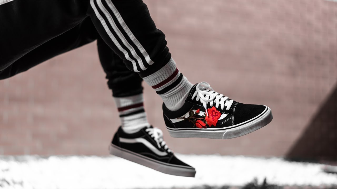 gucci vans custom. vans old skool rose custom tutorial \u0026 on feet gucci