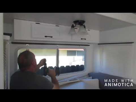 5th wheel,  diy wood trim for the window blinds plus talk about flooring.