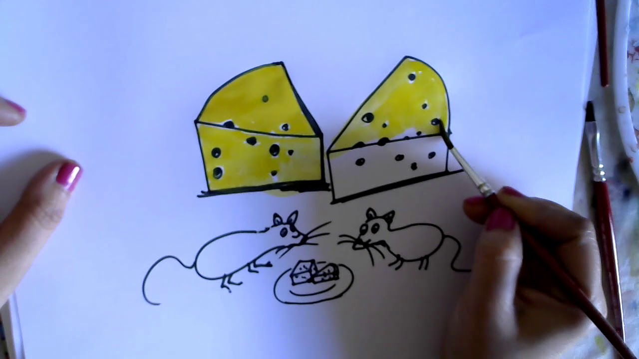 How To Draw Cheese And Rats Easy Drawing And Coloring Pages For Kids