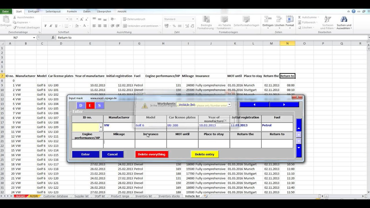 simple excel database template