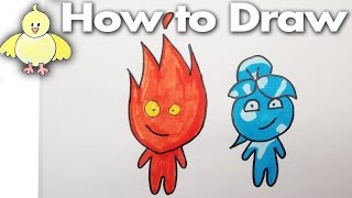 How to draw Fireboy and Watergirl Step by Step