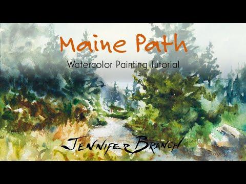 Maine Path Watercolor Painting Tutorial 4K