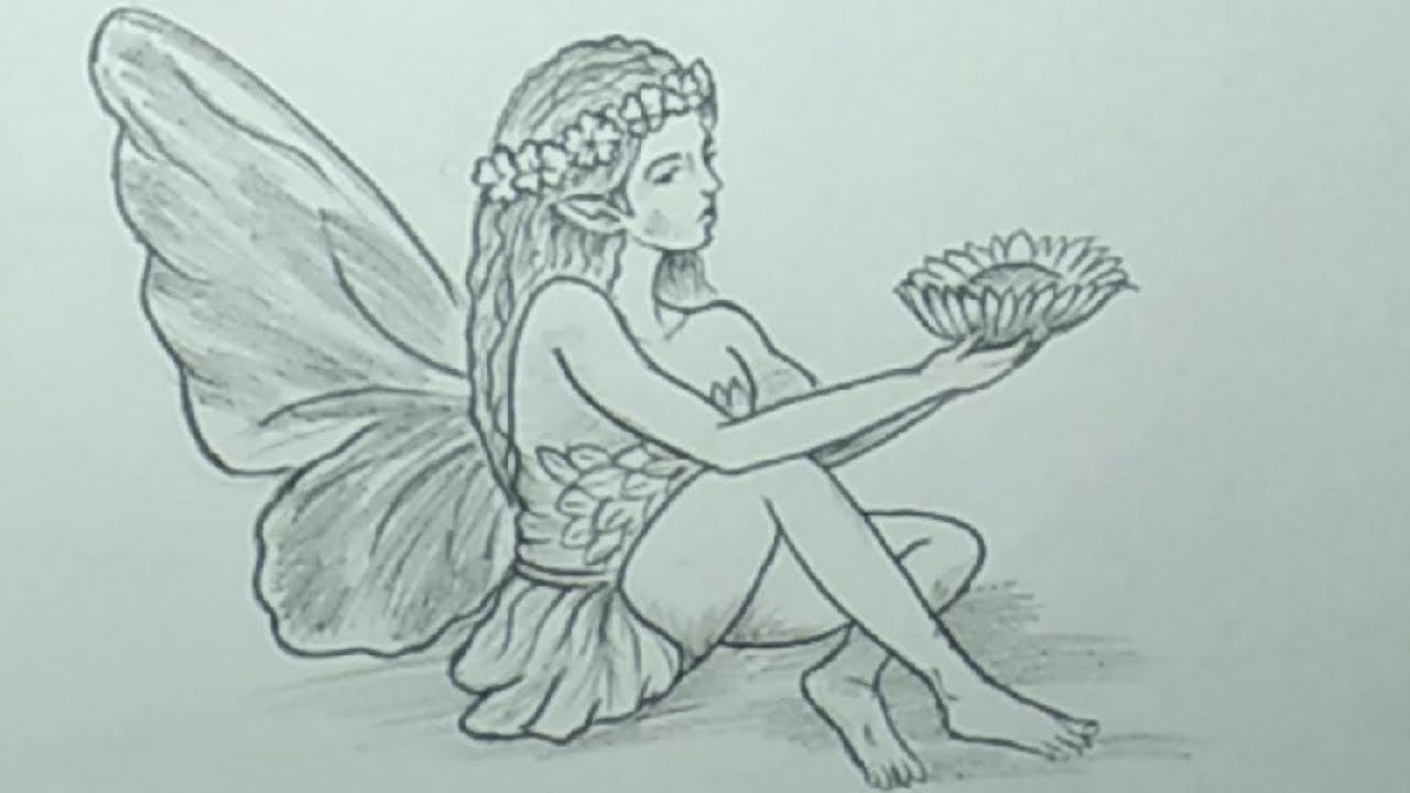 Pencil drawings easy how to draw a realistic fairy step by step