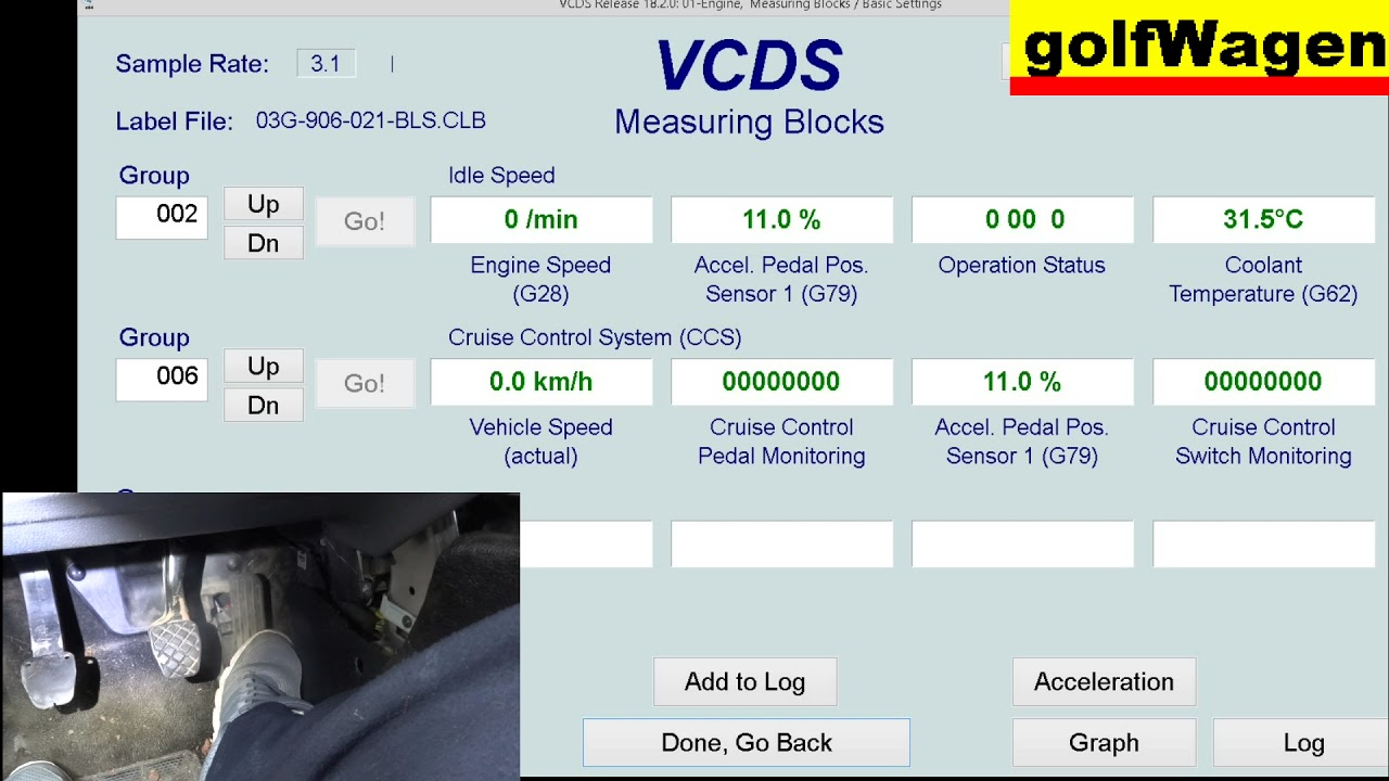 VCDS-VAG pedal test /accelerator pedal, brake pedal, clutch pedal/ on VW  Golf