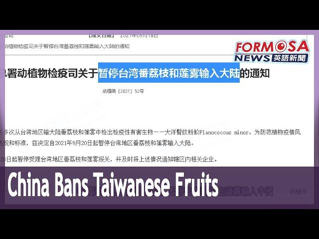 China cites harmful organisms as reason to ban Taiwanese sugar apple and wax apple
