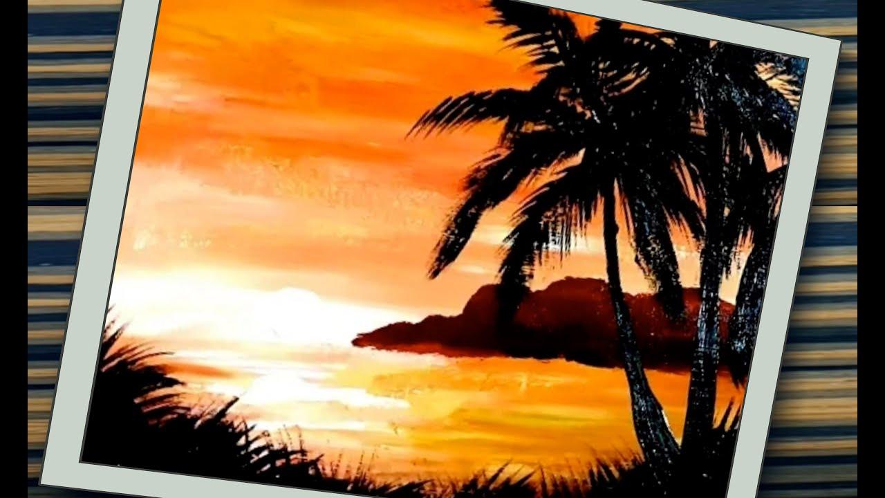 Gambar Pemandangan, Cara mekukis siluet pohon kelapa - YouTube