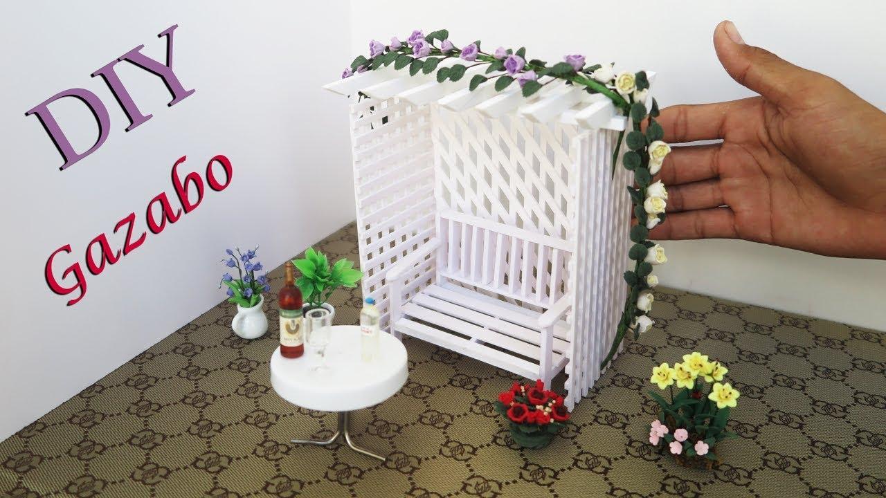 Miniature Dollhouse FAIRY GARDEN Accessories Flower Gazebo