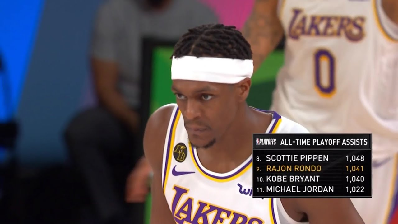 Rajon Rondo passing Lakers legend Kobe Bryant for 9th on the all-time playoff assists