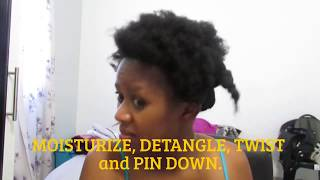 Pompadour updo on natural hair