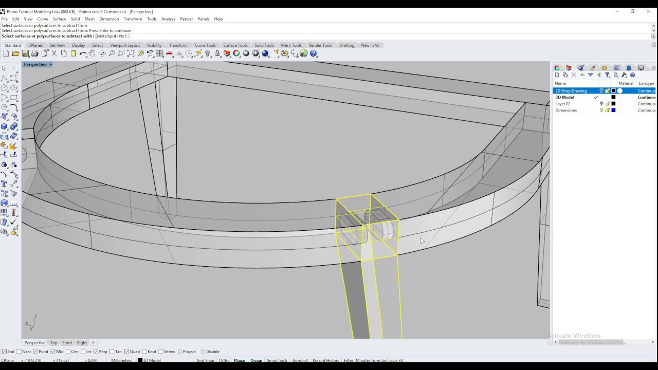 Rhino Tutorial Modeling Furniture: Chair Base