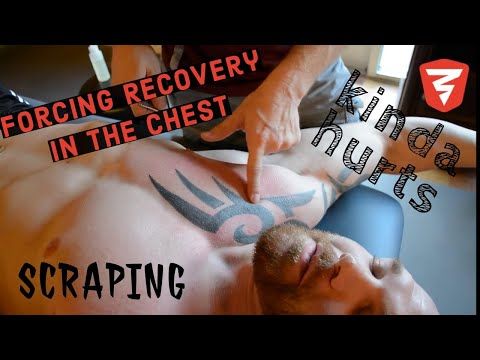 Scraping Technique for Opening the Chest; Bodybuilder Massage