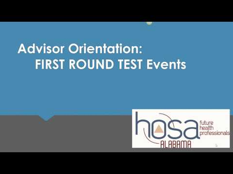 Alabama HOSA advisor orientation:  first round test events